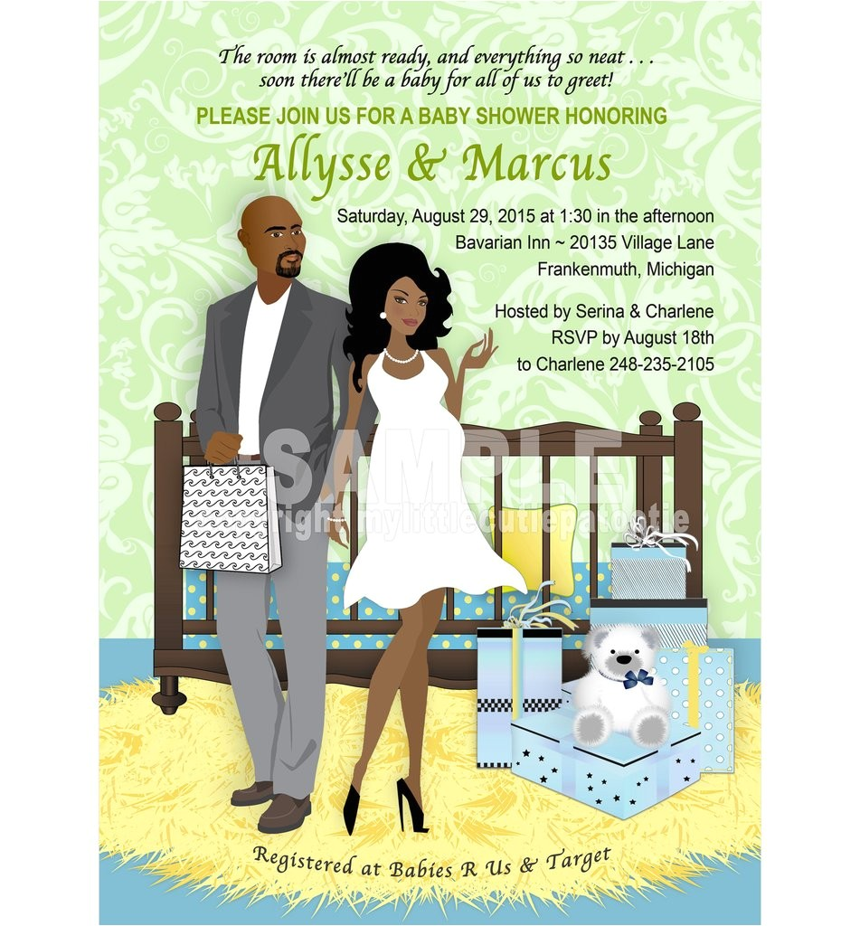 babys room shower invitation blue multi color african american couple