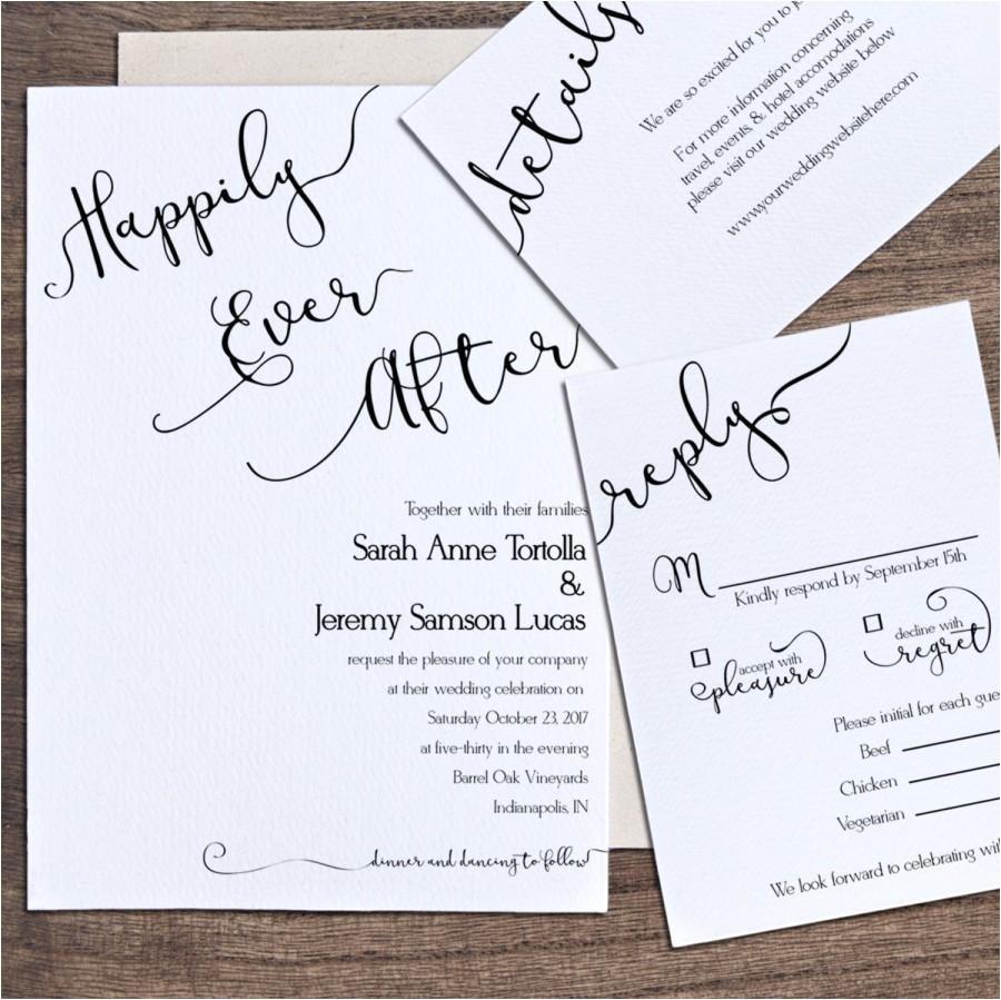 wedding invitation template printable wedding invitation happily ever after wedding invitation instant word rustic pps1100