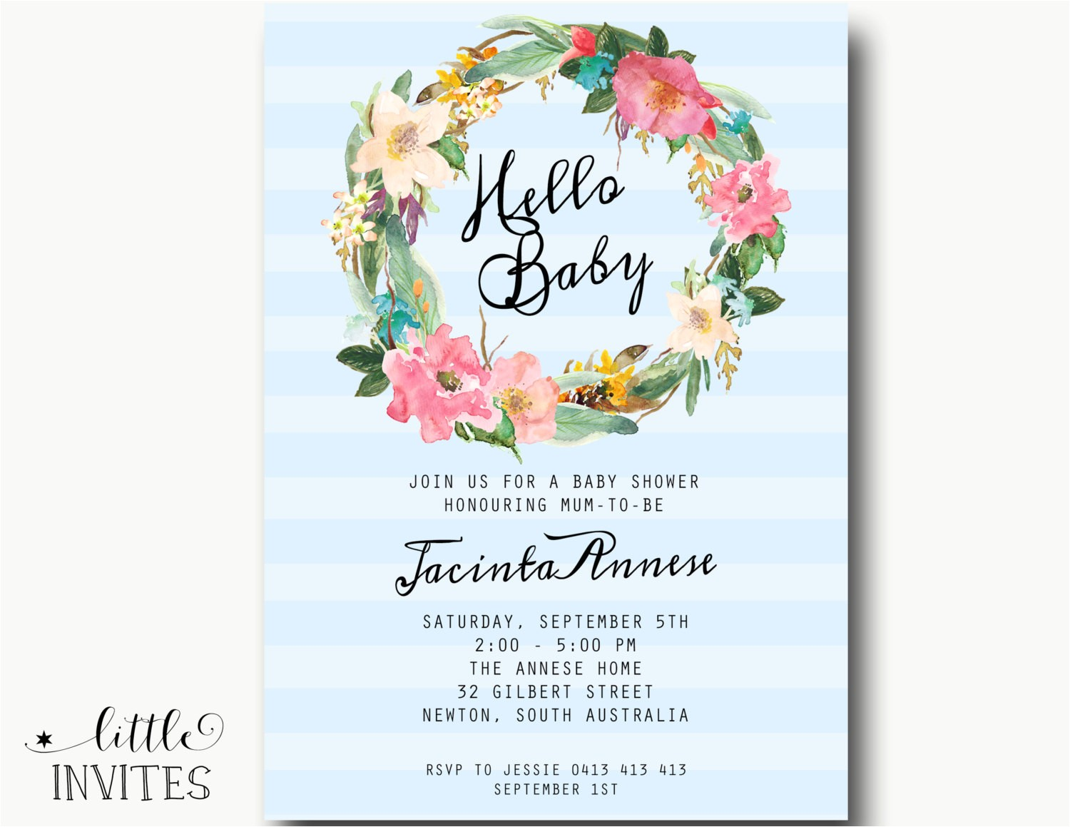baby shower invitationshabby chic high
