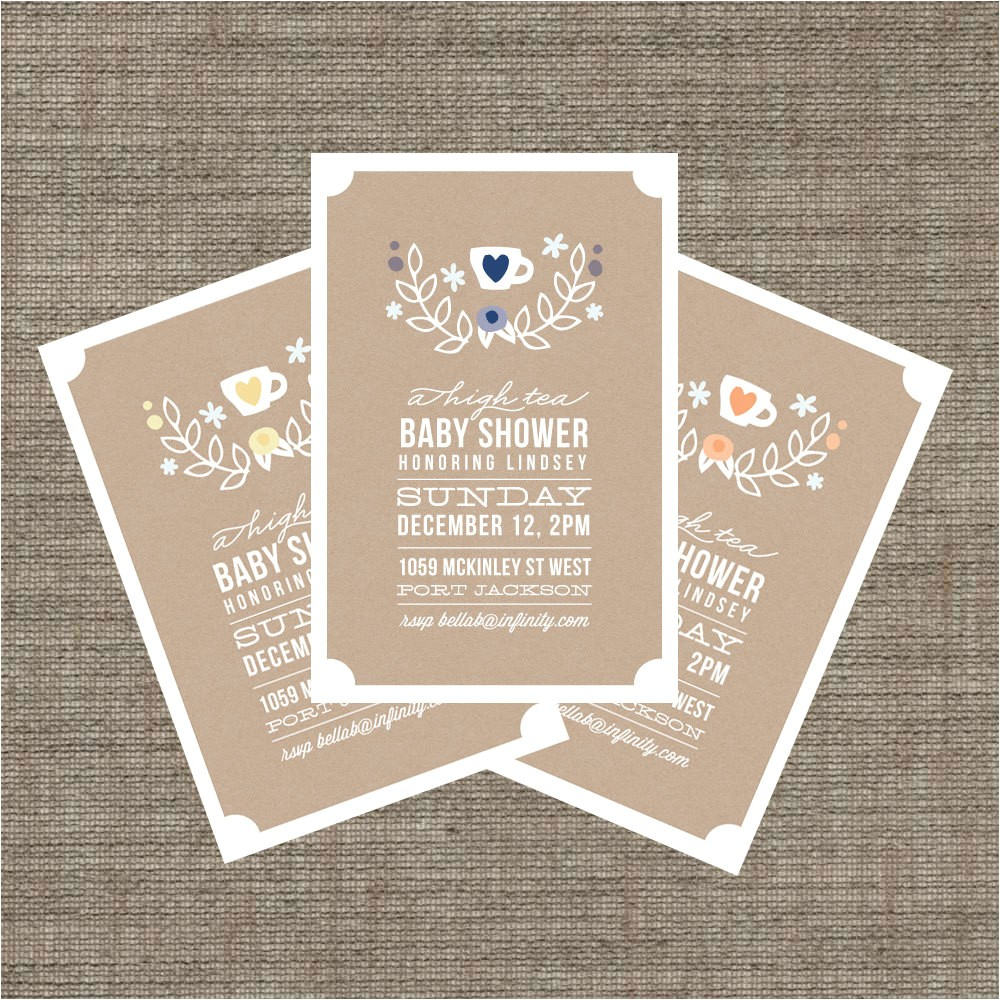 high tea baby shower invitation tea