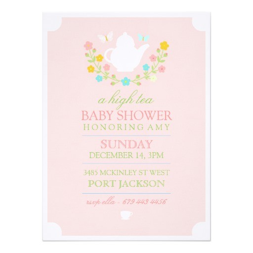pink high tea baby shower invitation