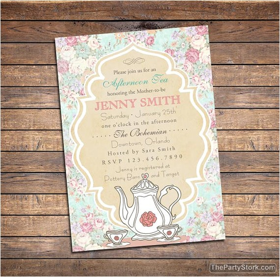 tea baby shower invitation printable high