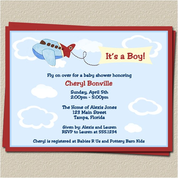 airplane baby shower invitations for
