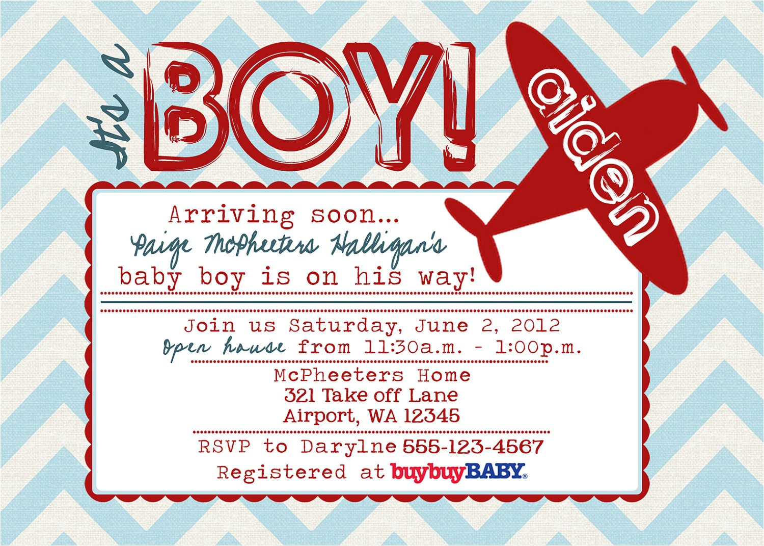 Airplane themed Baby Shower Invitations Airplane Baby Shower Invitations