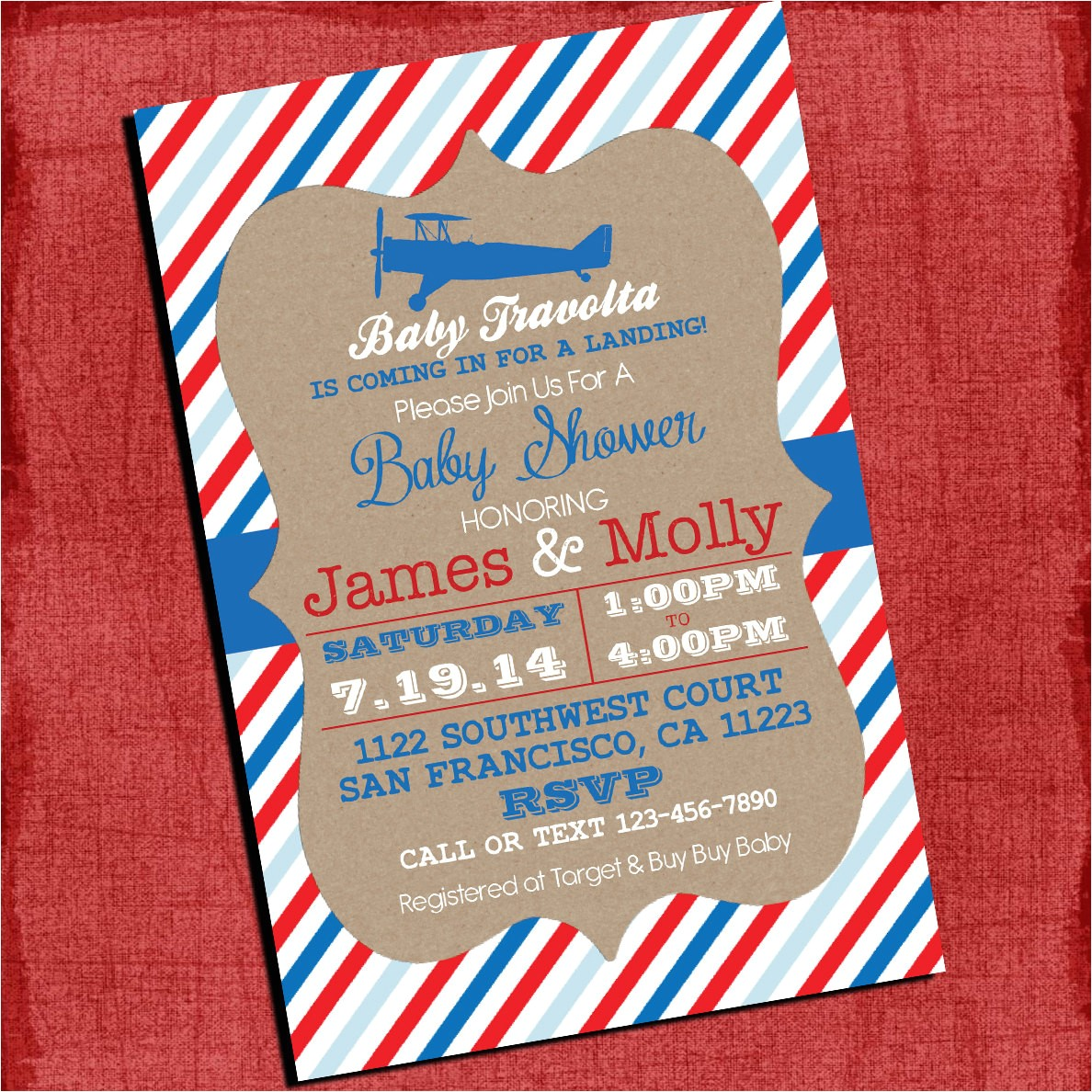 airplane theme baby shower invitation