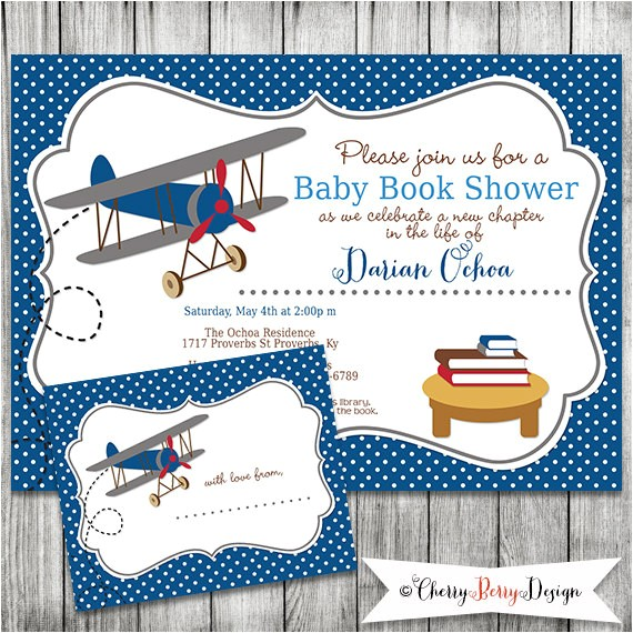 airplane themed baby shower invitation