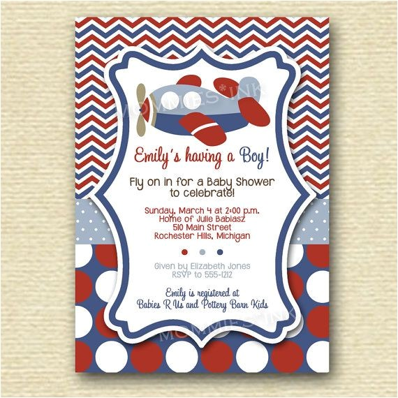 vintage airplane baby shower invitations decorations