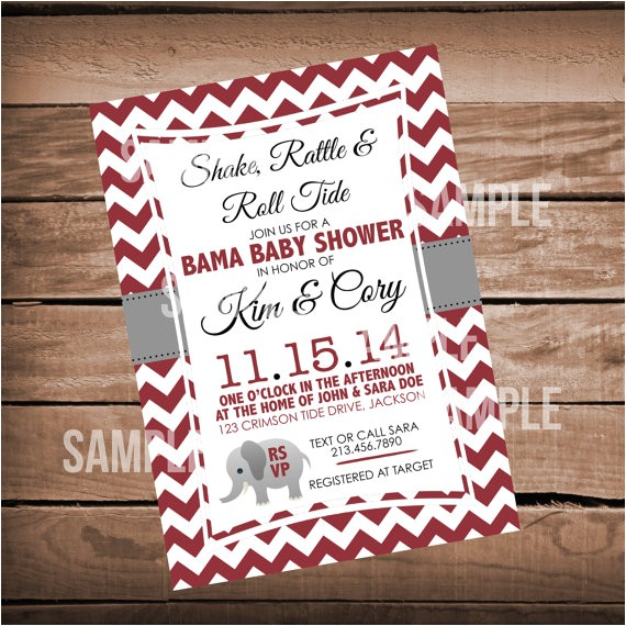 alabama baby shower invitation chevron