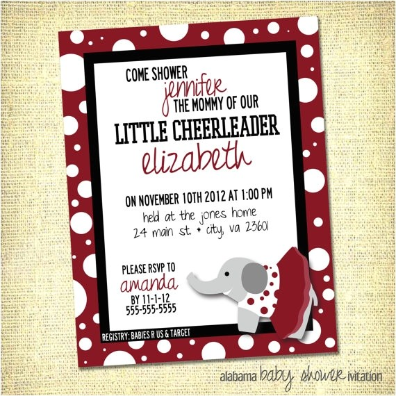 Alabama Baby Shower Invitations University Of Alabama Big Al Inspired Baby Shower