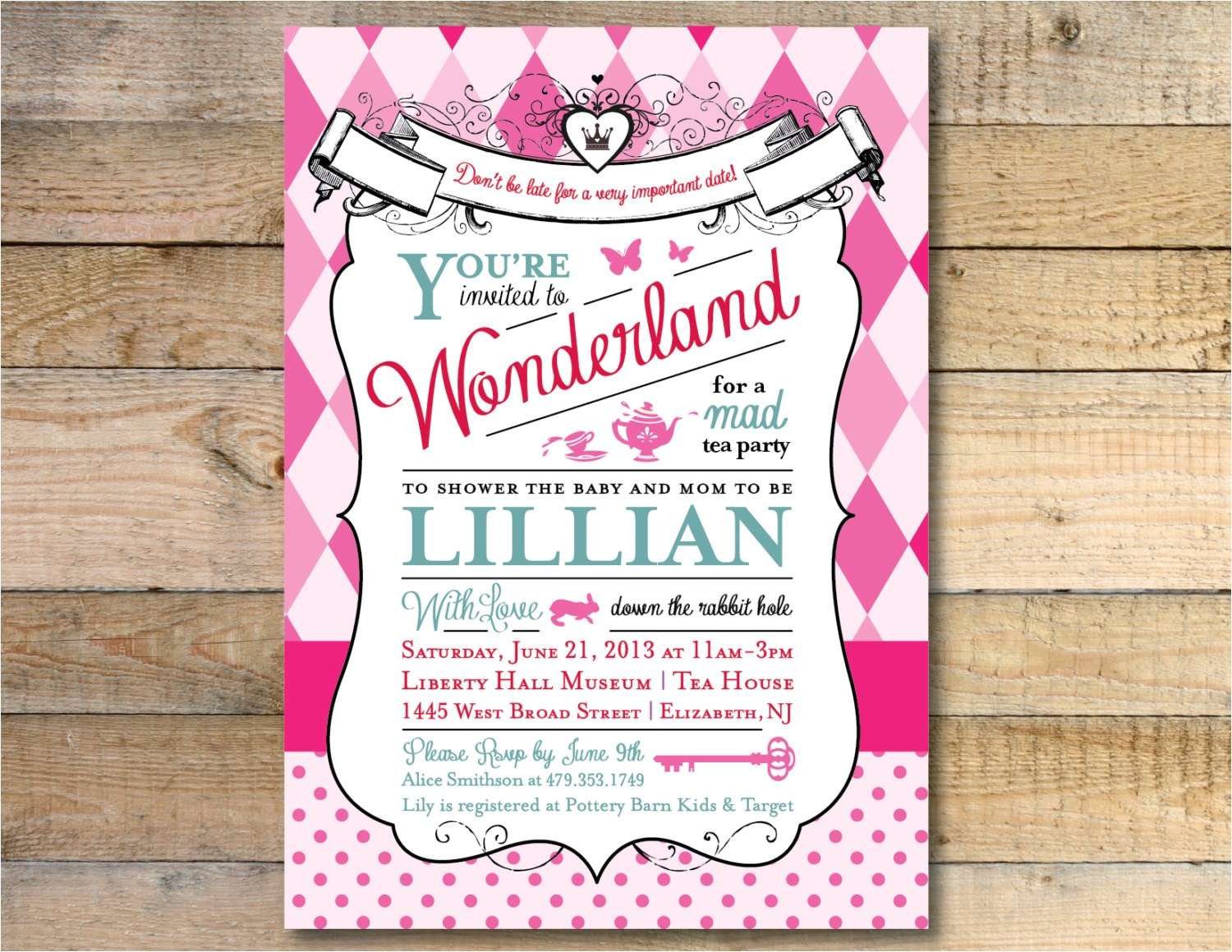 Alice and Wonderland Baby Shower Invitations Alice In Wonderland Baby Shower Invitation