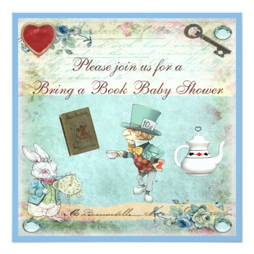 bring a book alice in wonderland baby shower invitation