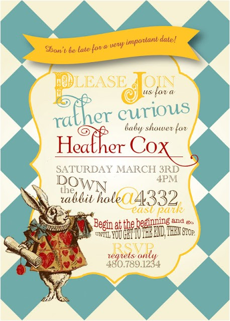 baby shower invites alice in wonderland