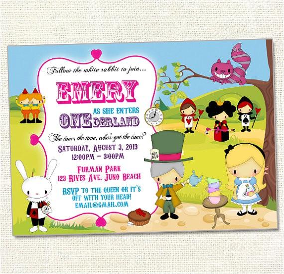 alice in onederland birthday invitation