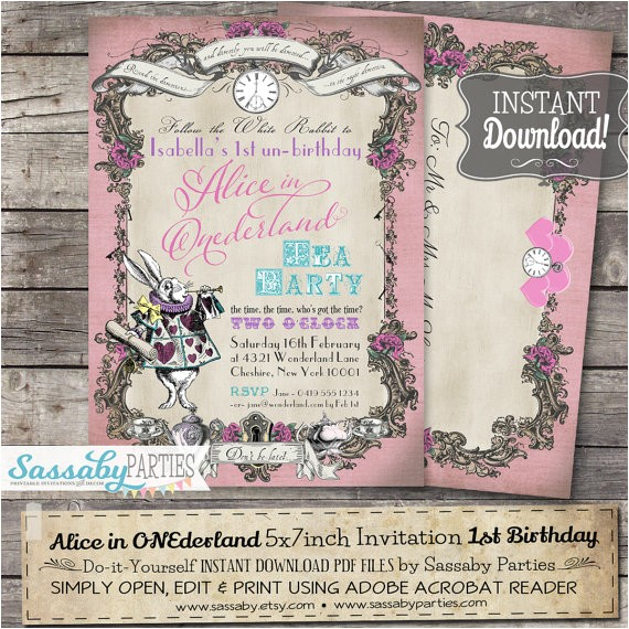 alice onederland invitation pink pastel instant