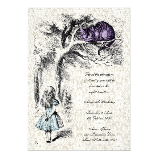 alice in wonderland mad hatters tea party birthday invitation