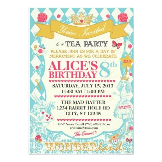 alice in wonderland tea party invitation