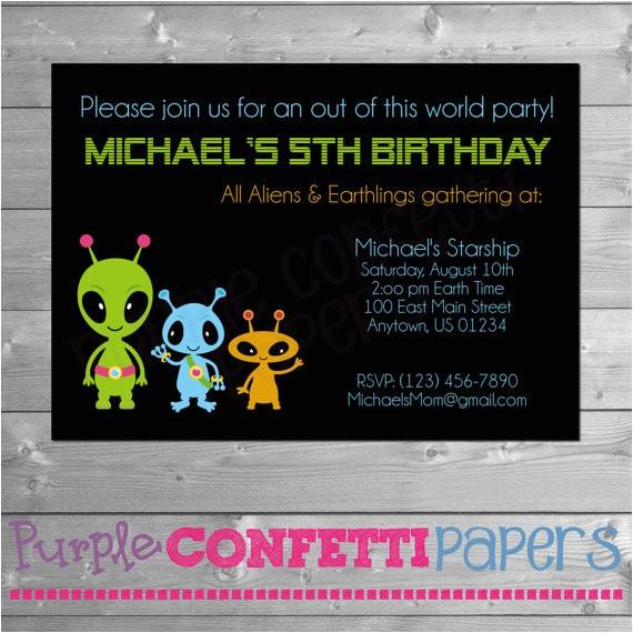 printable birthday party invitation three aliens