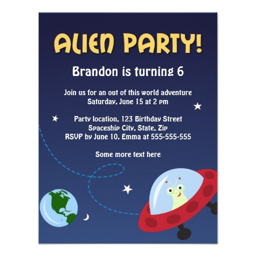 alien party invitation for kids birthday parties