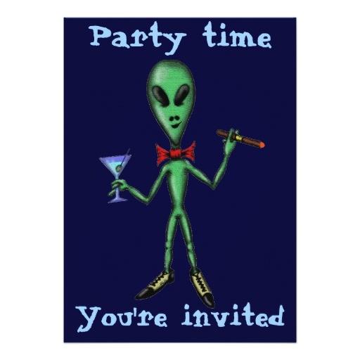 funny cool alien party invitation card design 161423068949390214