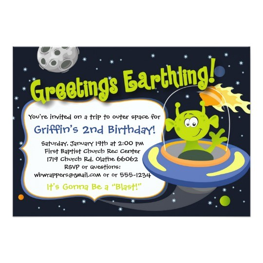 space alien party invitation outer space planets 161410892087054655