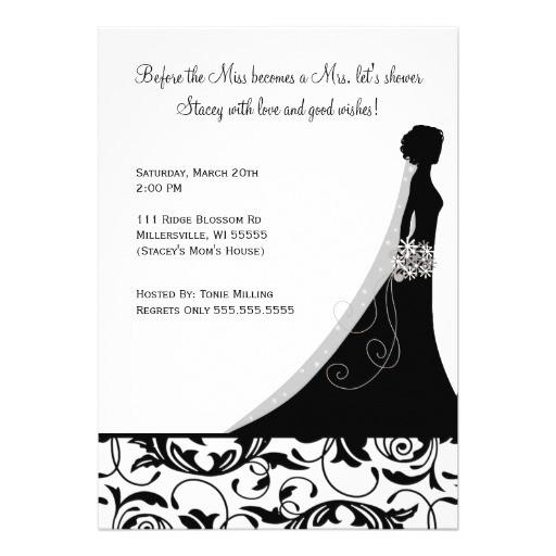 bridal shower invitations in black white damask