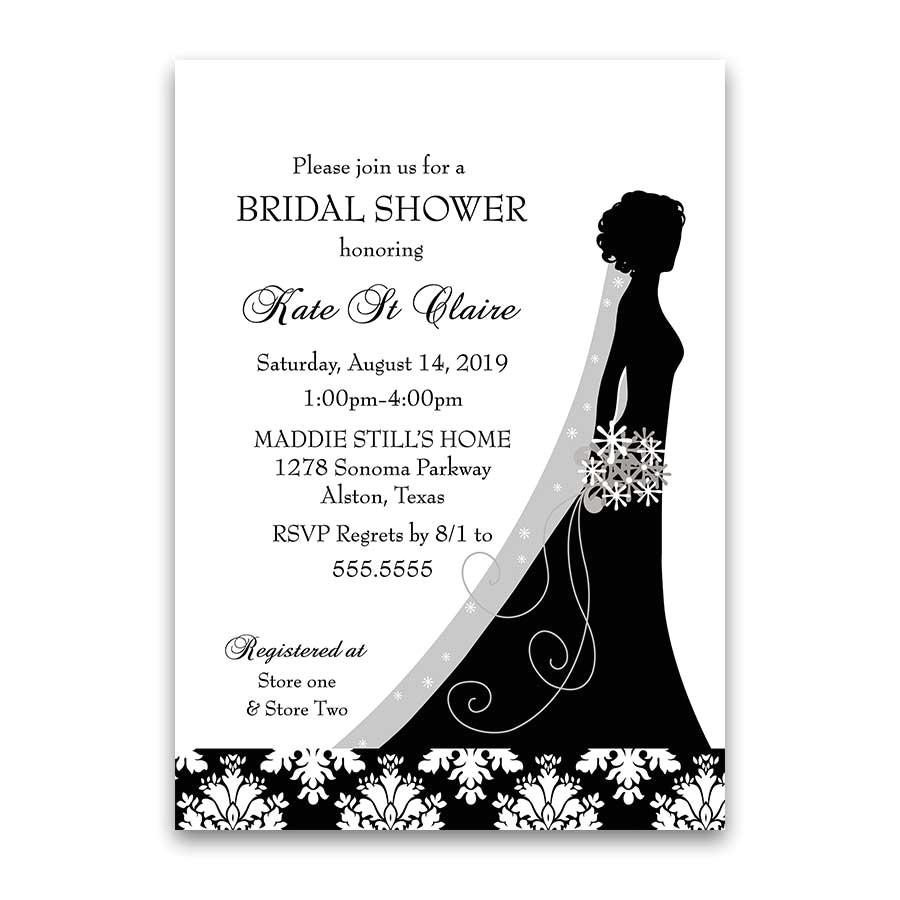 damask wedding bridal shower invitations black white floral