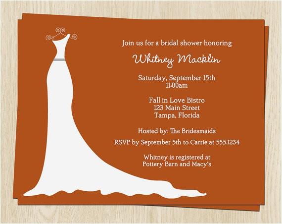 fall bridal shower invitations white