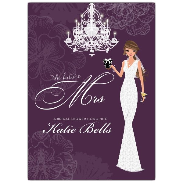 Love and Lace Brunette Bridal Shower Invitations p 606 57 BS100