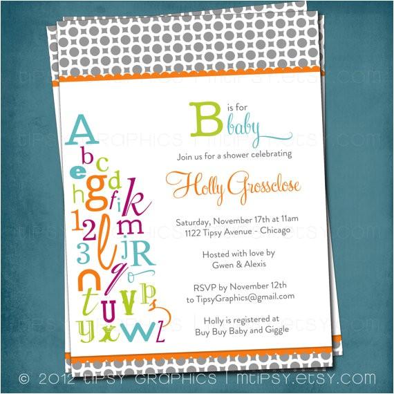 abc colorful alphabet baby bridal shower