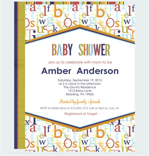 abc baby shower invitations casual