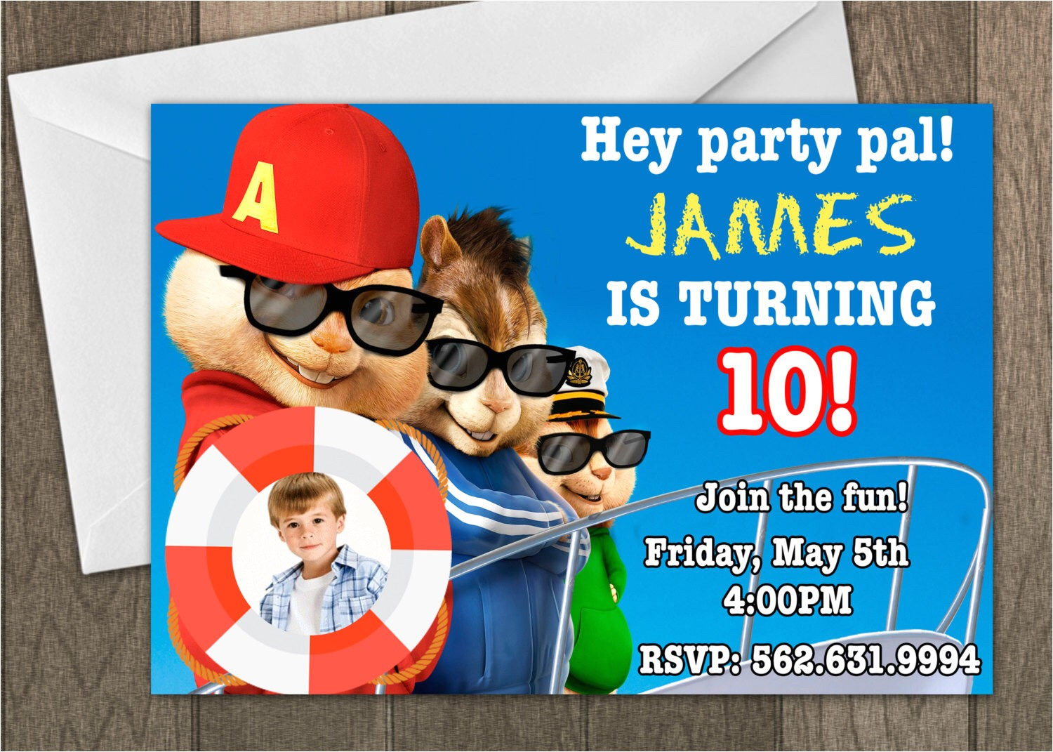 alvin and the chipmunks birthday invitations