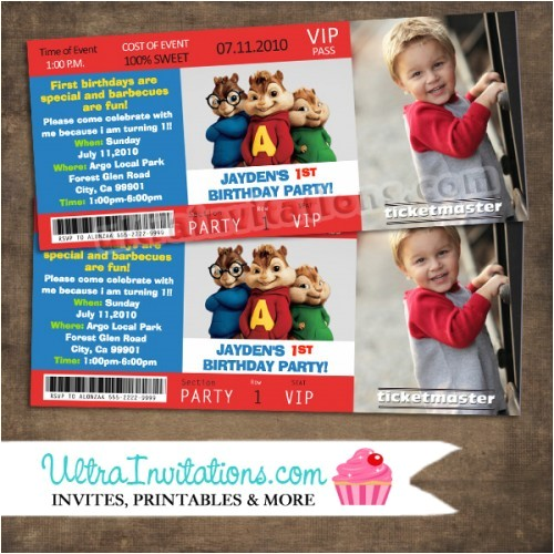 chipmunk ticket invitations 14