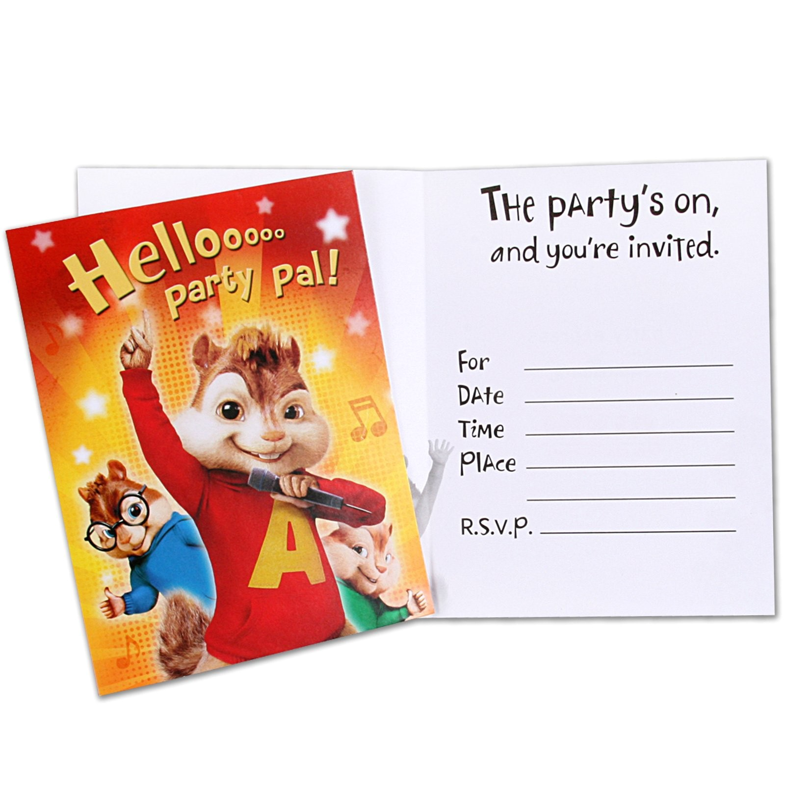 alvin and the chipmunks party invitations