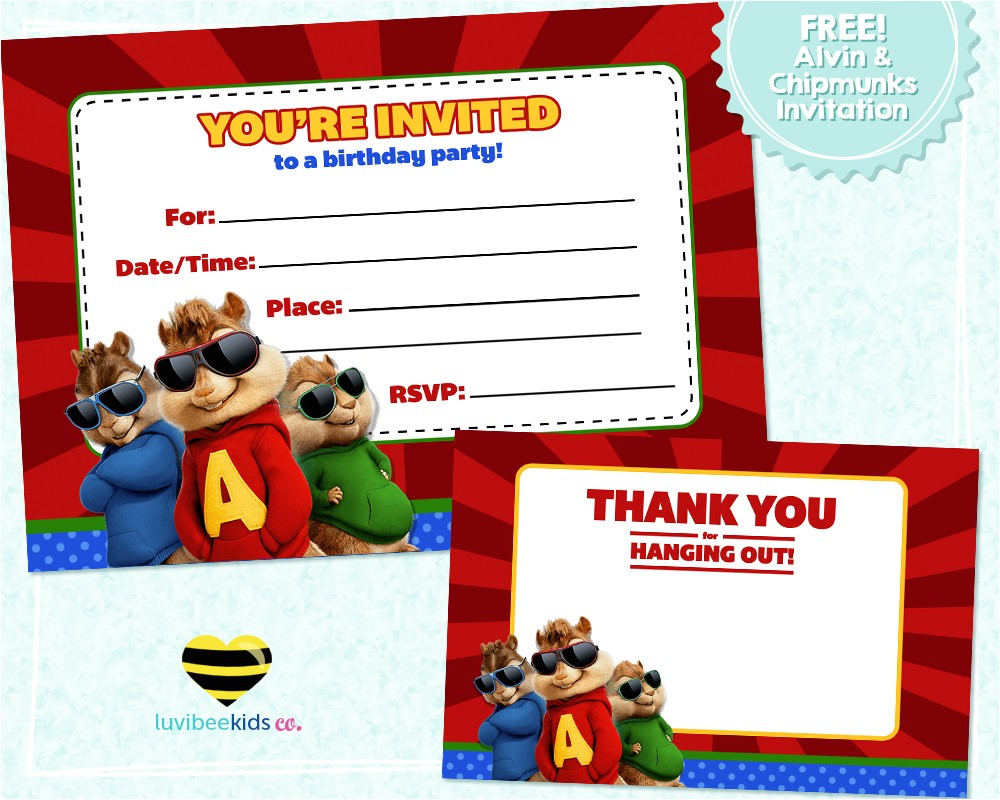 free printable alvin chipmunks birthday