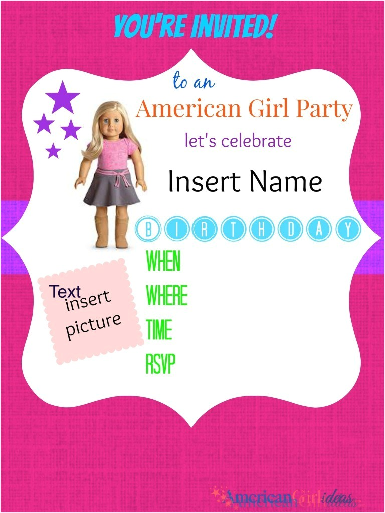 american girl party invitations