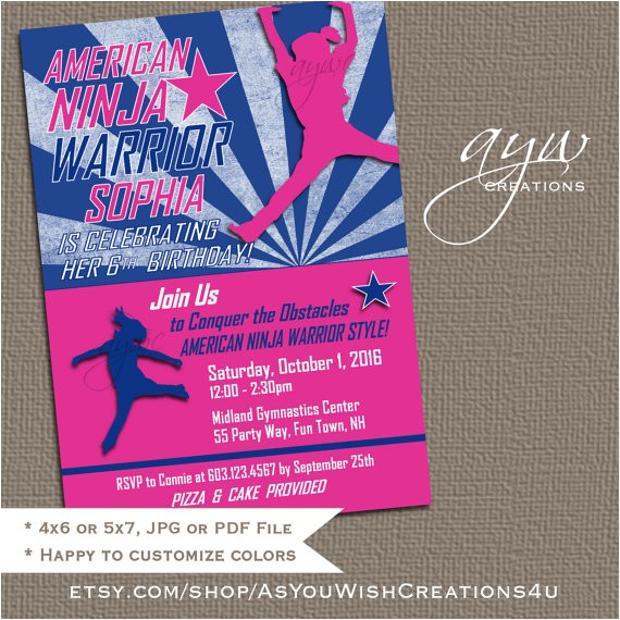 american ninja warrior inspired birthday invitation 4