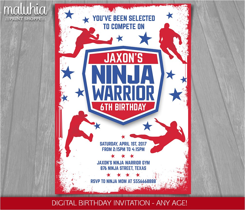 american ninja warrior invitation ninja