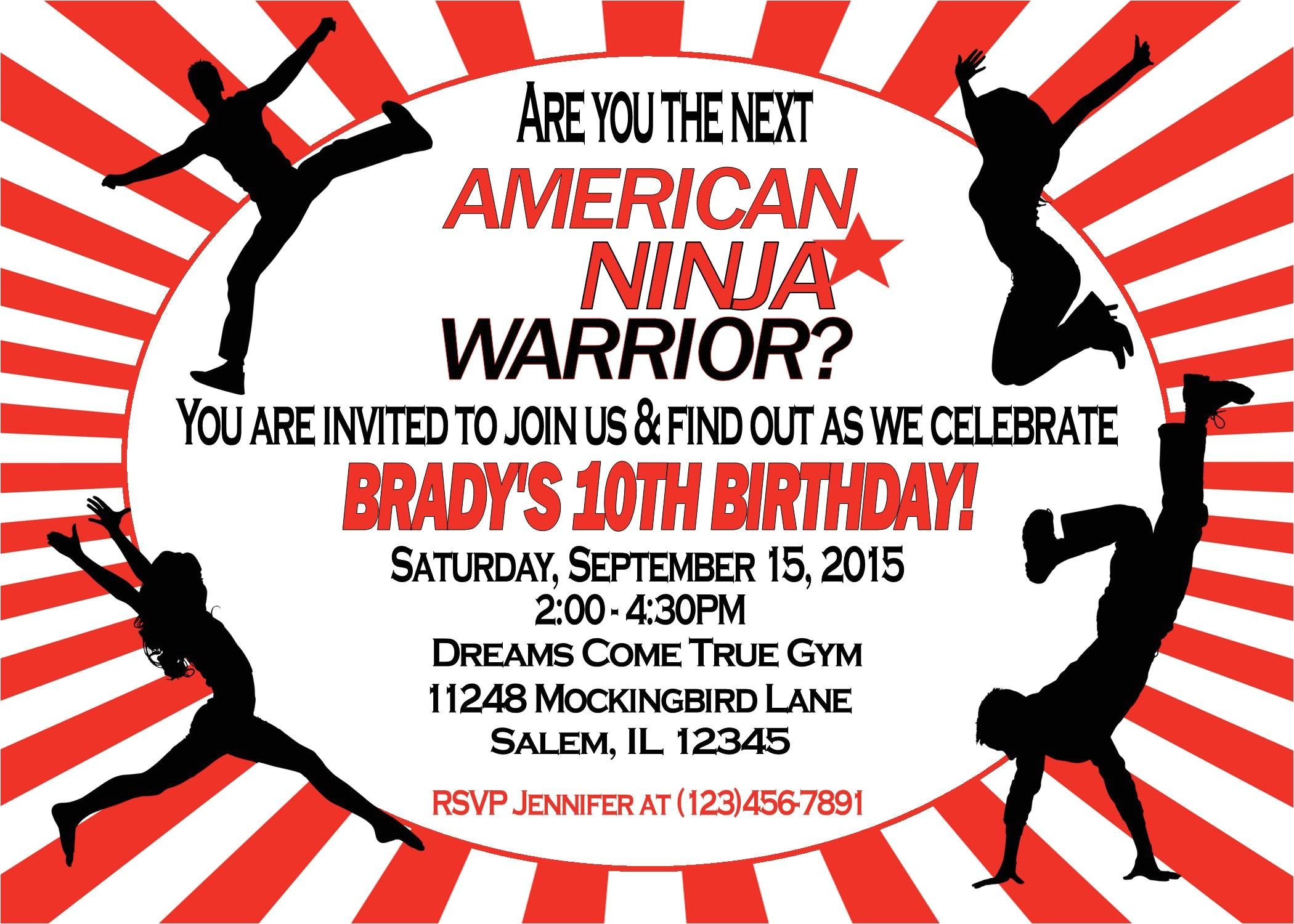 American Ninja Warrior Birthday Invitations American Ninja Warrior Invitation Sweetdesignsbyregan
