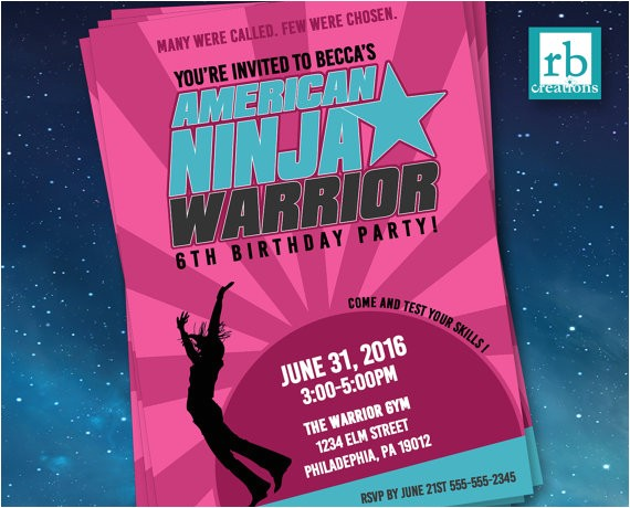 girl american ninja warrior invitations