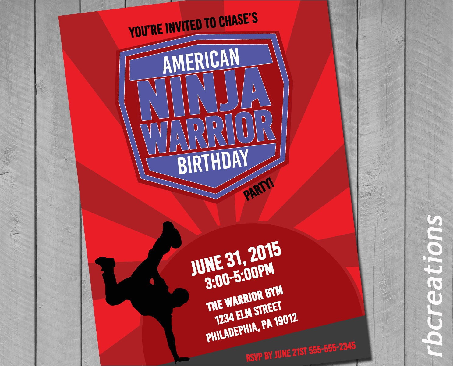 american ninja warrior invitations