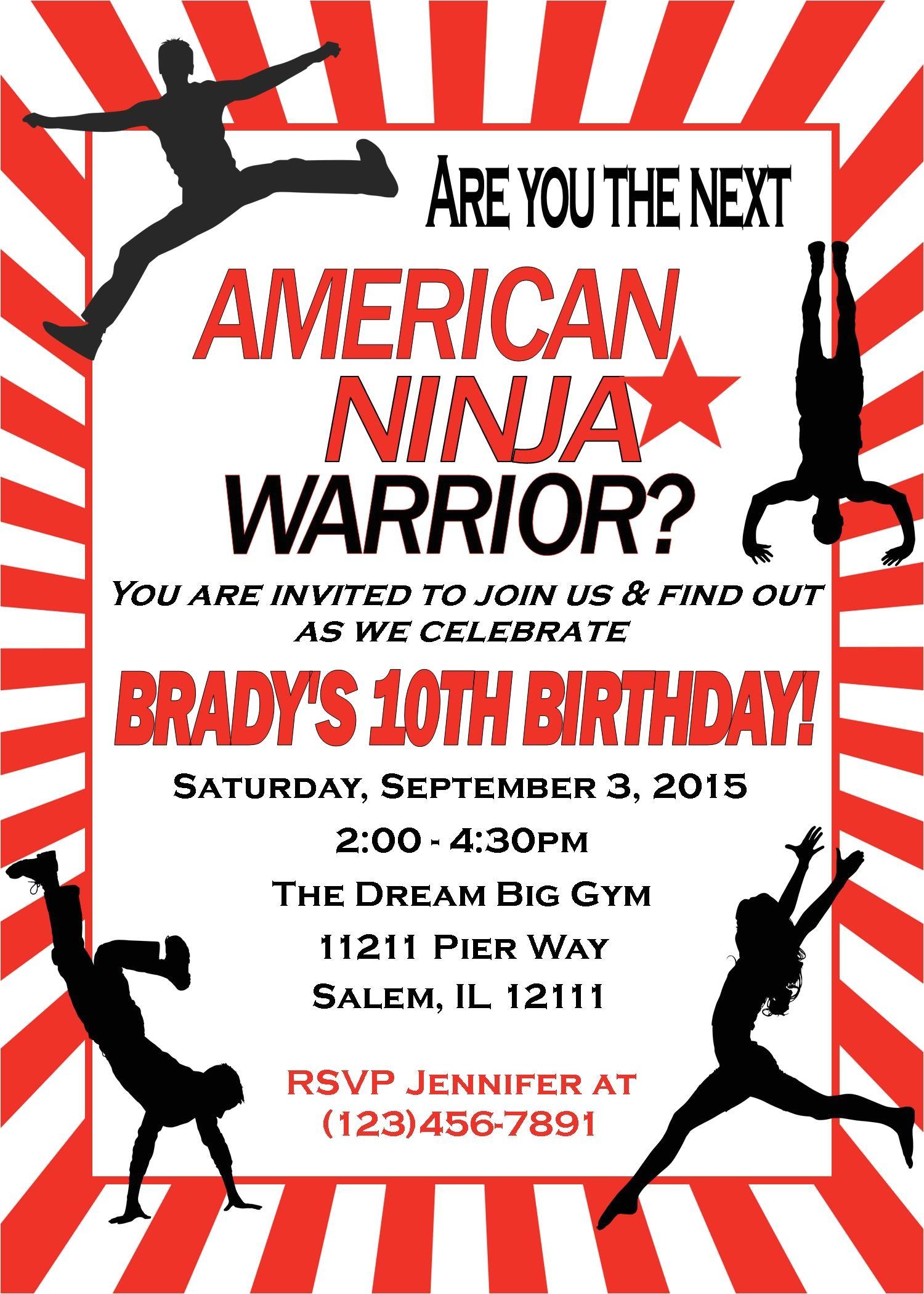 American Ninja Warrior Birthday Party Invitations American Ninja Warrior Birthday Invitation