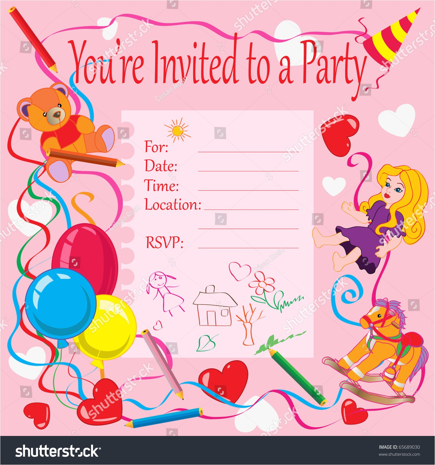stock vector vector illustration birthday party invitation for kids card concept