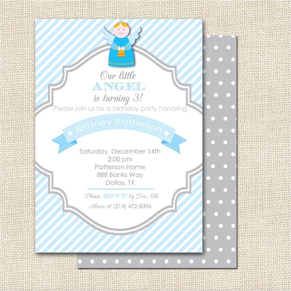 angel birthday invitations