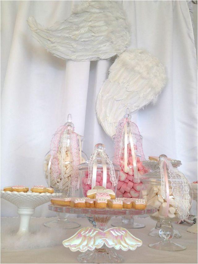 angel themed christening first birthday