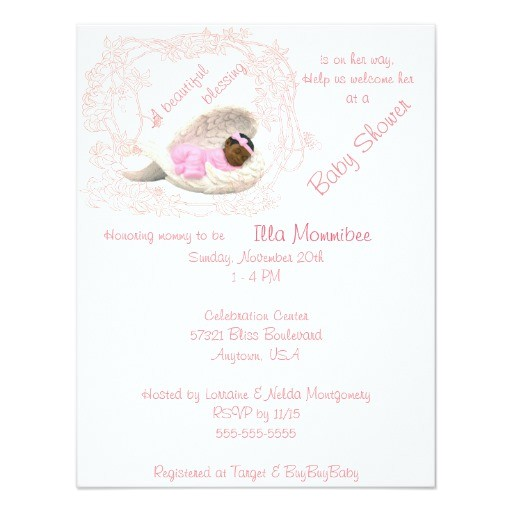 african am baby girl angel wing shower invitation