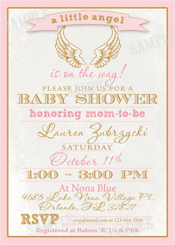 angel wings baby shower invite diy