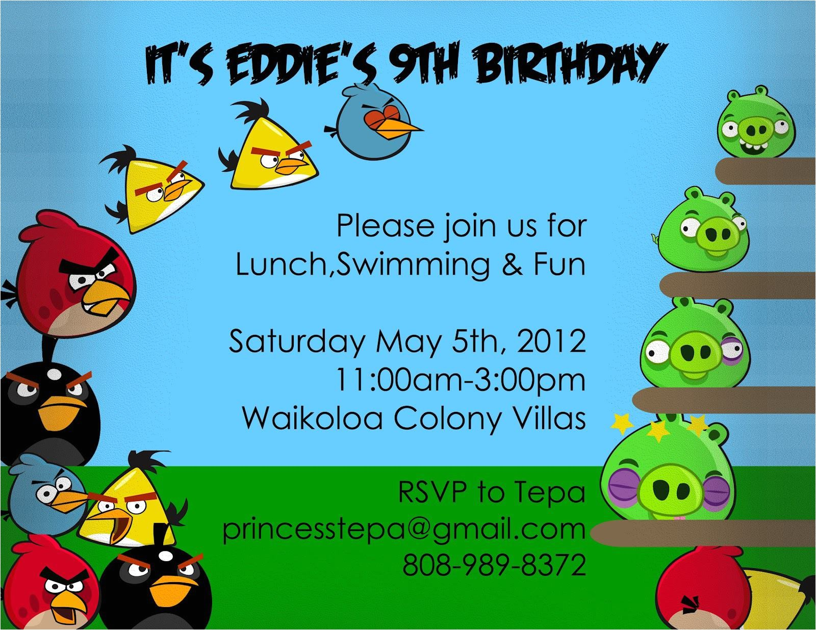 angry birds invitations