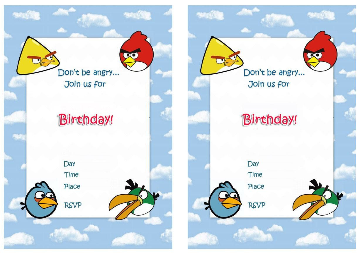Angry Birds Birthday Party Invitation Template Free Birthday Invitation Angry Birds Invitations Superb