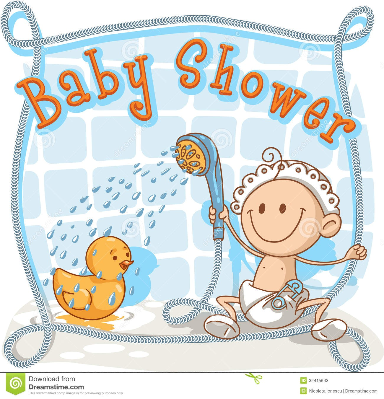 stock photos baby shower cartoon invitation vector showering his rubber ducky ai vector file included image