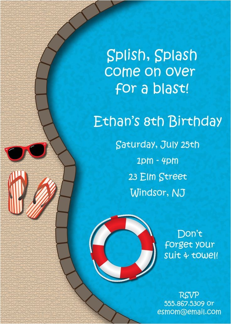 animated pool party invitations